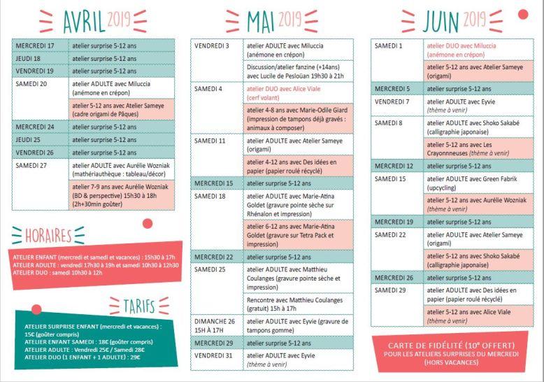 Programme ateliers avril mai juin 2019